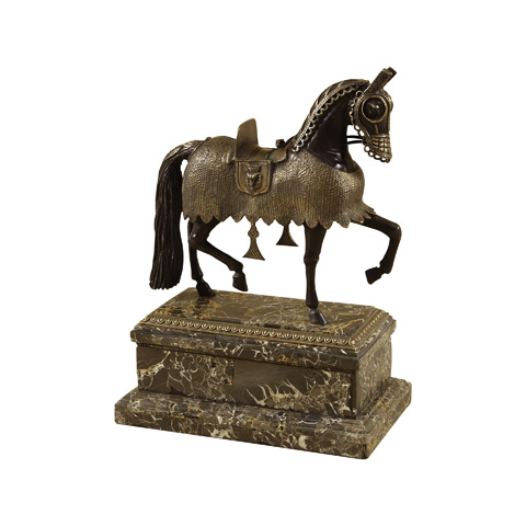 Maitland-Smith - Cast Brass Armored Horse - 1058-464