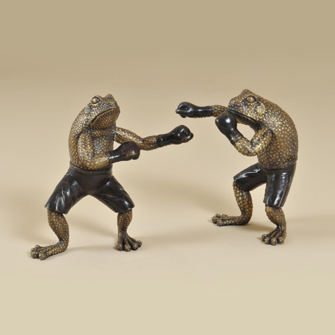 Maitland-Smith - Cast Brass Boxing Frogs - 1059-270