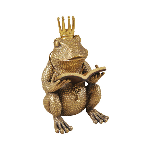 Maitland-Smith - Cast Brass Frog Reading Book - 1059-295