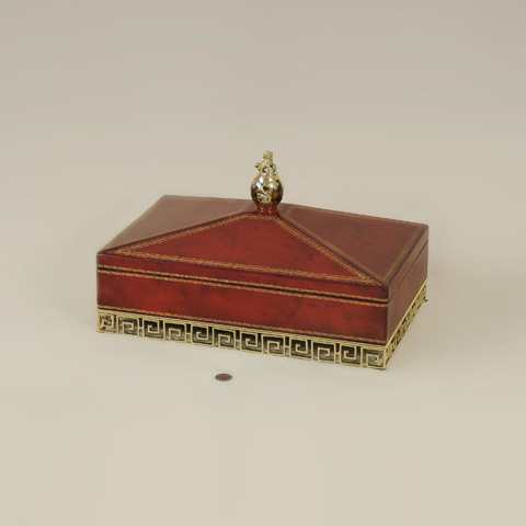 Maitland-Smith - Bohemian Red Leather Box - 1120-564