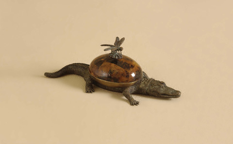 Maitland-Smith - Cast Brass Crocodile Box - 1158-017