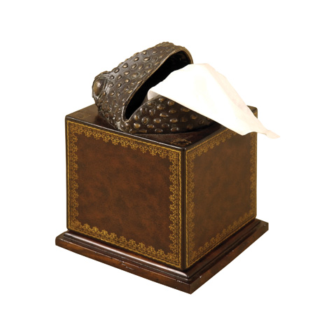 Maitland-Smith - Deep Chocolate Leather Frog Tissue Holder - 1220-363