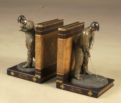 Maitland-Smith - Pair of Leather Golfer Bookends - 1254-176