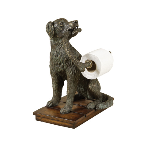 Maitland-Smith - Brass Sitting Dog Tissue Holder - 1254-233