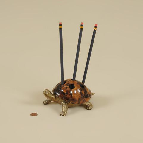 Maitland-Smith - Cast Brass Turtle Pen Holder - 1254-288