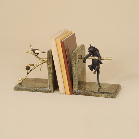 Maitland-Smith - Cat and Bird Bookends - 1254-325
