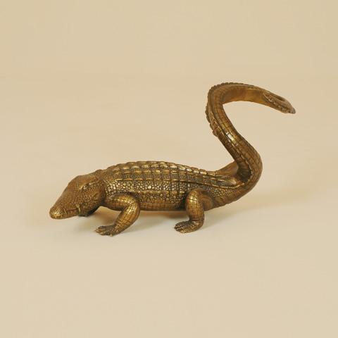 Maitland-Smith - Cast Brass Crocodile Wine Holder - 1254-331