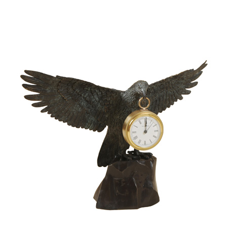 Maitland-Smith - Cast Brass Eagle with Clock - 1254-345