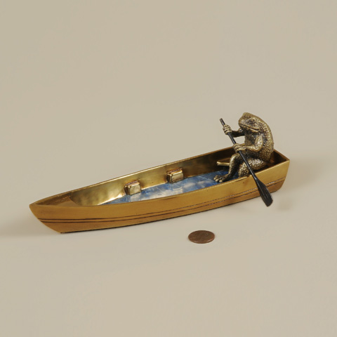 Maitland-Smith - Cast Brass Frog Rowing Boat - 1254-359