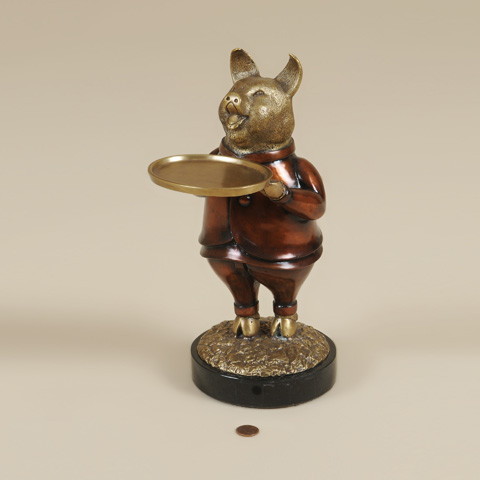 Maitland-Smith - Cast Brass Pig with Dish - 1254-360
