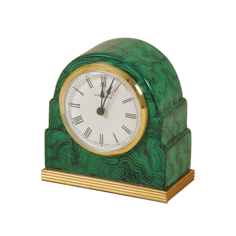 Maitland-Smith - Faux Malachite Table Top Clock - 1343-427