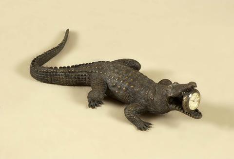 Maitland-Smith - Cast Brass Crocodile Table Clock - 1358-040