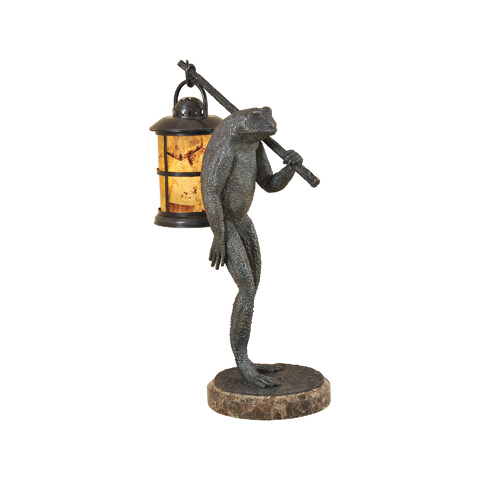 Maitland-Smith - Verdigris Cast Brass Frog Lamp - 1758-369