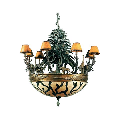 Maitland-Smith - Antique Brass African Wildlife Chandelier - 1900-027