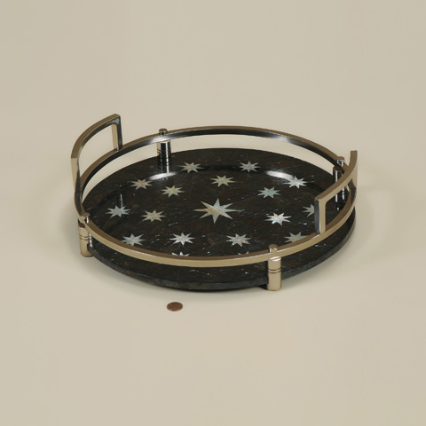 Maitland-Smith - Antique Nickel Round Brass Tray - 2554-106