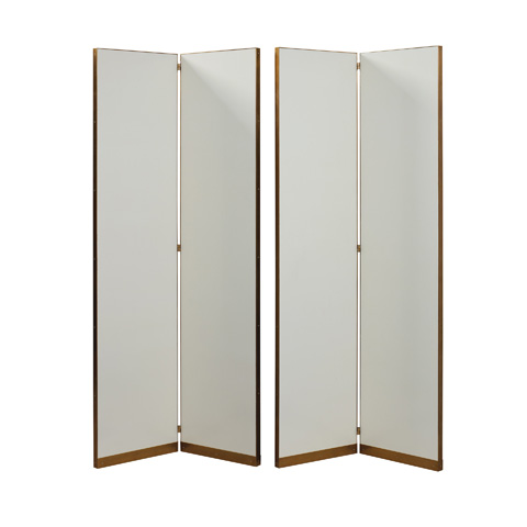 Image of Set of Two Leather Floor Screens