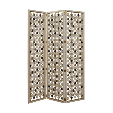 Image of Ivory Three Panel Floor Screen
