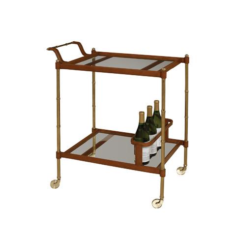 Maitland-Smith - Bamboo Cast Brass Bar Cart - 3020-042