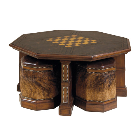 Maitland-Smith - Mottled Black Leather Cocktail Table - 3320-221