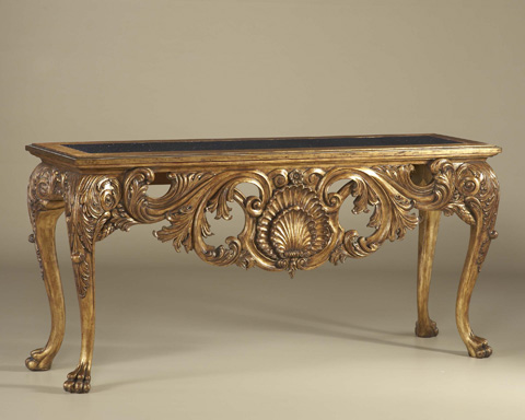 Image of Carved Light Tone Console Table