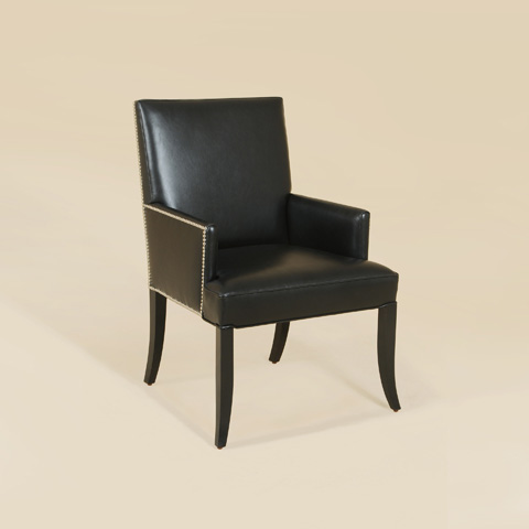 Maitland-Smith - Black Lacquer Leather Armchair - 4130-812
