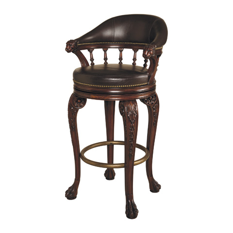 Image of Lion's Head Mahogany Swivel Barstool