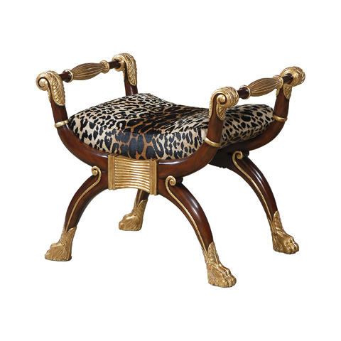 Maitland-Smith - Mahogany Leopard Bench with Gold Accents - 4230-377