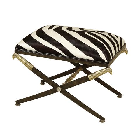 Maitland-Smith - Black Iron Zebra Hair on Hide Bench - 4251-136