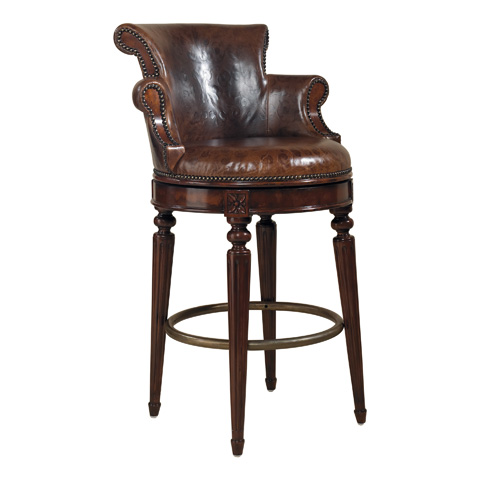 Maitland-Smith - Aged Regency Mahogany Swivel Counter Stool - 4430-651