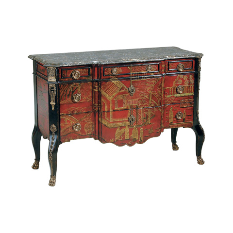 Image of Hand Painted Red Chinoiserie Chest of Drawers