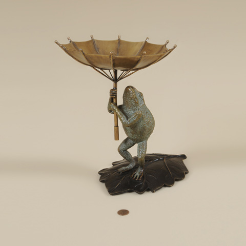 Maitland-Smith - Cast Brass Frog with Umbrella Soap Dish - 1254-355