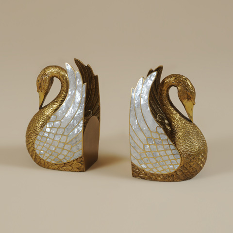 Maitland-Smith - Pair of Classic Finished Cast Brass Swan Bookend - 1254-358