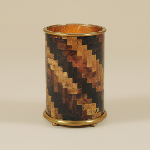 Maitland-Smith - Tiger and Black Penshell Inlaid Candleholder - 1600-178