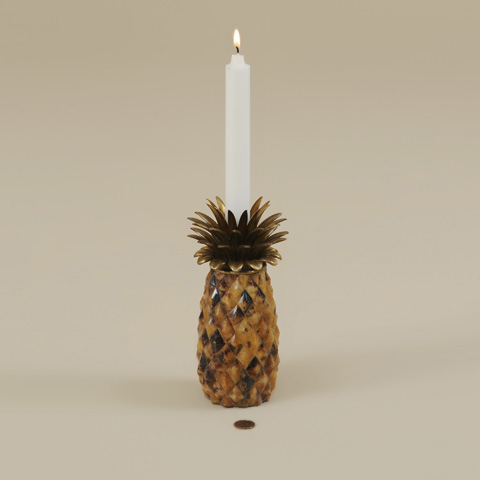Maitland-Smith - Tiger Penshell Inlaid Pineapple Candleholder - 1600-182