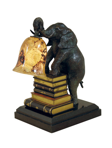 Maitland-Smith - Verdigris Patina Brass Elephant Decorative Lamp - 1754-722