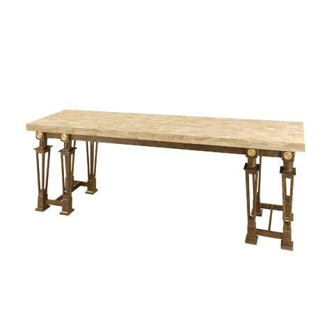 Maitland-Smith - Petrified Wood Stone and Black Iron Console Table - 3451-346