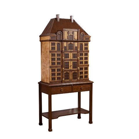 Image of Ash Burl and Mahogany Veneered Bar Cabinet