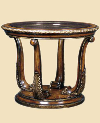 Marge Carson - Round Glass Top End Table - PSM04-1