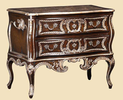 Image of Serpentine Marble Top Nightstand
