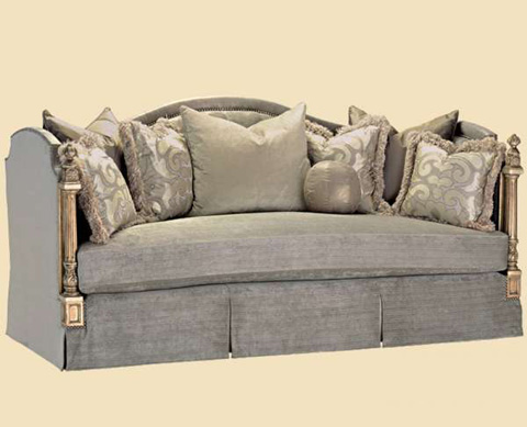 Image of Camel Back Skirted Sofa