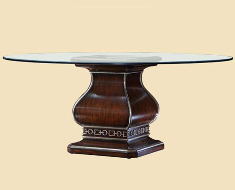 Marge Carson - Cross Channel Round Glass Dining Table - CRC08G