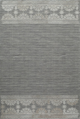 Image of Lace Embroided Rug in Grey