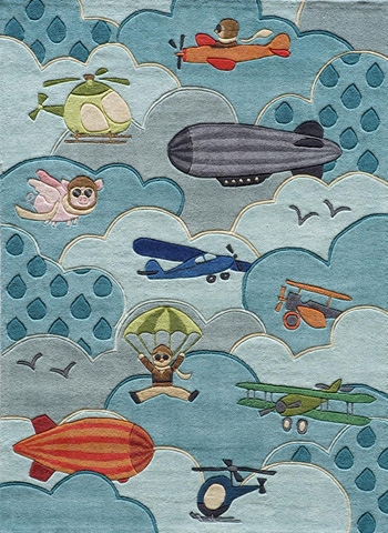 Image of Lil Mo Whimsy Rug in Sky