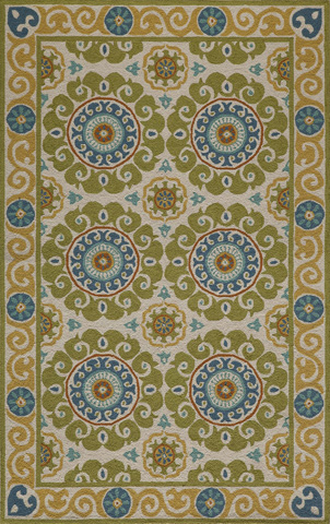 Image of Suzani Hook Rug in Lime
