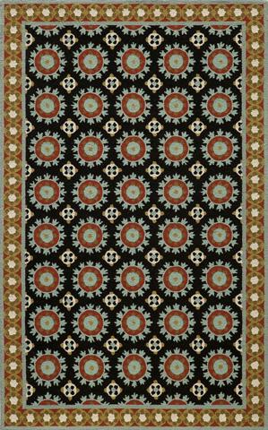 Momeni - Suzani Hook Rug in Black - SZI-03 BLACK