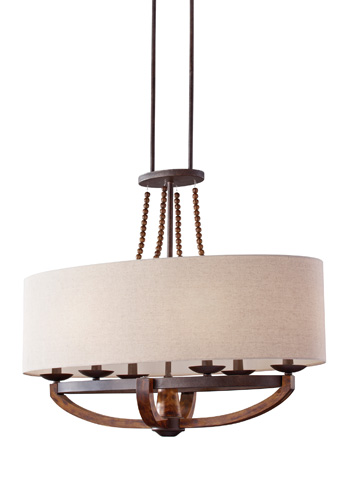 Feiss - Six - Light Single Tier Chandelier - F2751/6RI/BWD