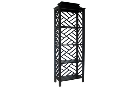 Image of Meiling Bookcase in Hand Rubbed Black Finish