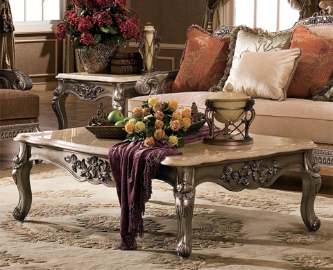 Orleans International - Coffee Table with Marble Top - 4908-007BMT