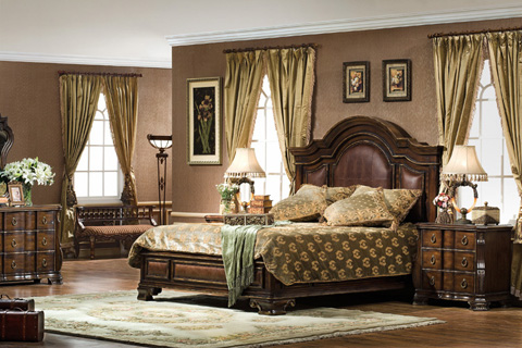 Image of Queen Bed with Leather Accents
