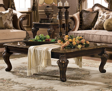 Orleans International - Venice Coffee Table with Marble Top - 4902-007
